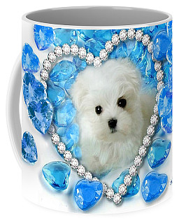 Hermes The Maltese And Blue Hearts Coffee Mug