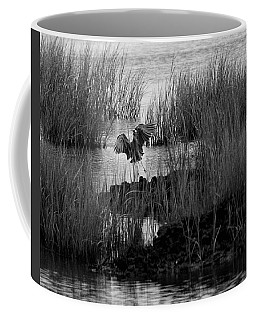 Heron And Grass In B/w Coffee Mug