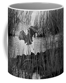 Coffee Mug featuring the photograph Heron And Grass In B/w by William Selander