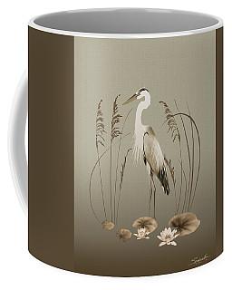 Heron And Lotus Flowers Coffee Mug