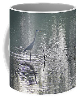 Coffee Mug featuring the photograph Heron In Pastel Waters by Skip Willits
