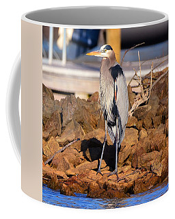 Coffee Mug featuring the photograph Heron On The Rocks by Lisa Wooten