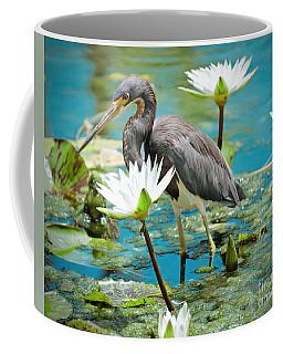 Heron With Water Lillies Coffee Mug