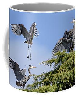 Herons Mating Dance Coffee Mug by Keith Boone