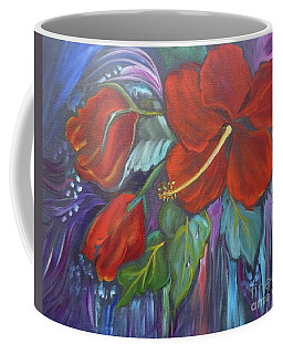 Coffee Mug featuring the painting Hibiscus Whimsy by Jenny Lee