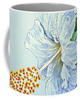 Hibiscus White And Yellow Coffee Mug by Sheron Petrie