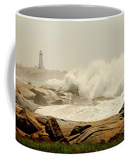 High Surf After A Hurricane Crashing On The Rocks At Peggy's Cove, Nova Scotia, Canada Coffee Mug