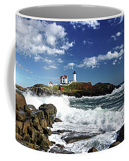 High Surf At Nubble Light Coffee Mug
