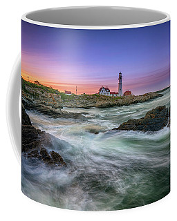 Coffee Mug featuring the photograph High Tide At Portland Head Lighthouse by Rick Berk