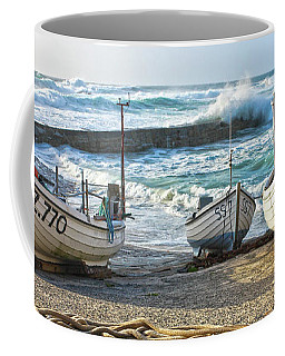 Coffee Mug featuring the photograph High Tide In Sennen Cove Cornwall by Terri Waters
