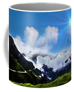 Coffee Mug featuring the photograph Highway Through The Andes - Painting by Al Bourassa