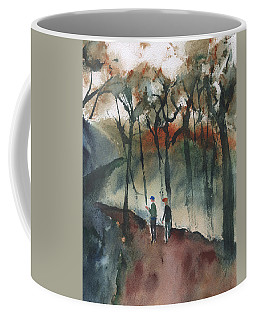 Coffee Mug featuring the painting Hikers by Frank Bright