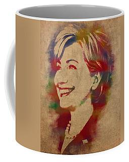 Hillary Rodham Clinton Watercolor Portrait Coffee Mug