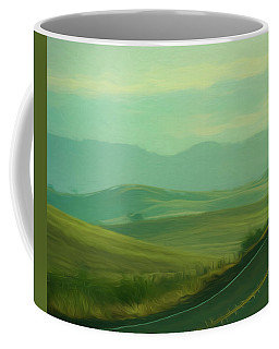 Hills In The Early Morning Light Digital Impressionist Art Coffee Mug
