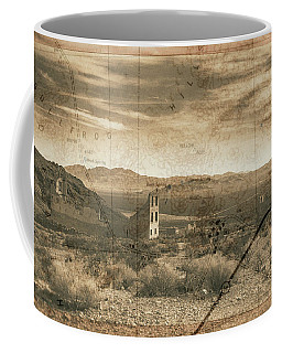 Historic Rhyolite Nevada With Map Coffee Mug by Bartz Johnson