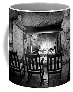 Coffee Mug featuring the photograph Winter Warmth In Black And White by Karen Wiles