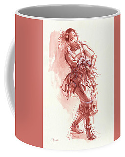 Coffee Mug featuring the drawing Hiva, Dancer Of Tonga by Judith Kunzle