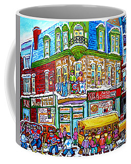 Coffee Mug featuring the painting Hockey Art Winter Street Painting Double Pizza Restaurant Scenes Canadian Artist Carole Spandau      by Carole Spandau