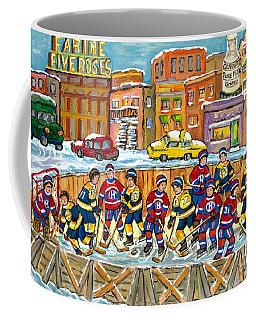 Hockey Rink Painting Boston Vs Montreal 1979 Cityscene Five Roses And Milk Bottle Skyline C Spandau Coffee Mug