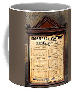 Coffee Mug featuring the photograph Hogsmeade Station Timetable by Juergen Weiss
