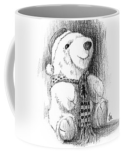 Coffee Mug featuring the drawing Holiday Bear by Joe Winkler