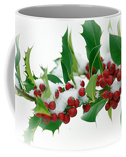 Coffee Mug featuring the photograph Holly Berries On White by Sharon Talson
