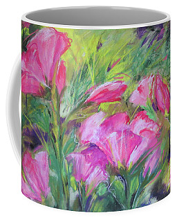 Coffee Mug featuring the painting Hollyhock Breeze by Susan Herbst