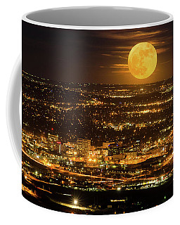 Home Sweet Hometown Bathed In The Glow Of The Super Moon  Coffee Mug