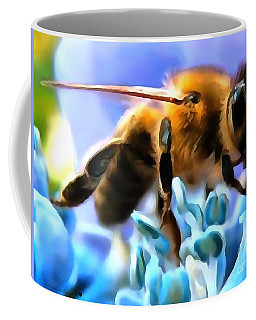 Coffee Mug featuring the painting Honey Bee In Interior Design Thick Paint by Catherine Lott