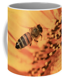 Coffee Mug featuring the photograph Honeybee And Sunflower by Chris Berry