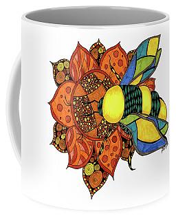 Coffee Mug featuring the drawing Honeybee On A Flower by Barbara McConoughey