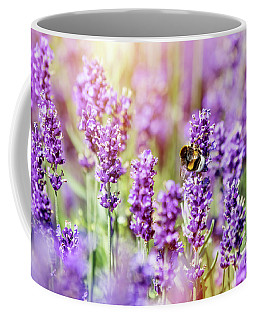 Honeybee Pollinating Lavender Flower Field Coffee Mug