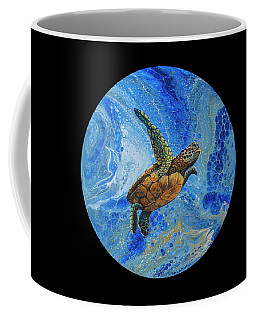 Coffee Mug featuring the painting Honu Amakua On Black by Darice Machel McGuire