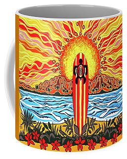 Honu Surf Coffee Mug by Debbie Chamberlin