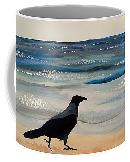 Hooded Crow At The Black Sea By Dora Hathazi Mendes Coffee Mug
