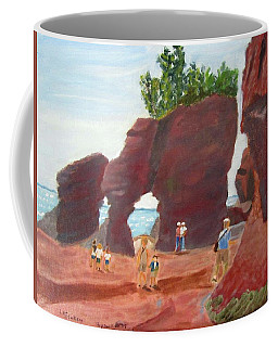 Coffee Mug featuring the painting Hopewell Rocks2 by Linda Feinberg