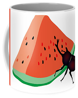 Horn Beetle Is Eating A Piece Of Red Watermelon Coffee Mug