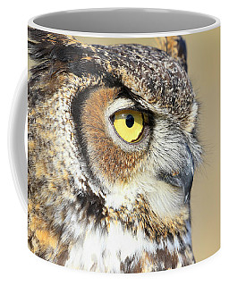 Coffee Mug featuring the photograph Horned Owl Close Up by Steve McKinzie