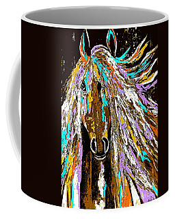 Horse Abstract Brown And Blue Coffee Mug by Saundra Myles