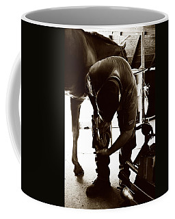 Coffee Mug featuring the photograph Horse And Farrier by Angela Rath