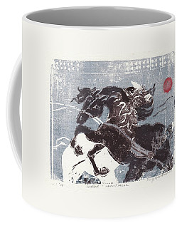 Horse And Red Sun Coffee Mug by Mary Armstrong