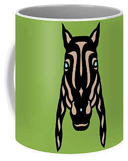 Horse Face Rick - Horse Pop Art - Greenery, Hazelnut, Island Paradise Blue Coffee Mug