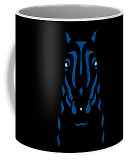 Horse Face Rick - Horse Pop Art - Primrose Yellow, Lapis Blue, Island Paradise Blue Coffee Mug