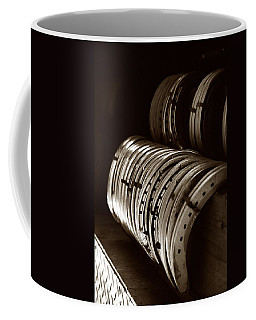 Coffee Mug featuring the photograph Horse Shoes In Sepia by Angela Rath