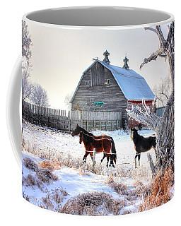 Horses And Barn Coffee Mug