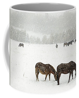 Horses And Snow Coffee Mug