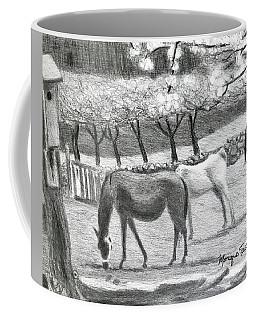 Horses And Trees In Bloom Coffee Mug