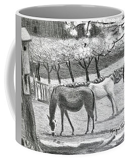 Coffee Mug featuring the drawing Horses And Trees In Bloom by Monique Faella