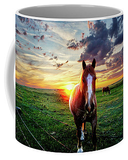 Horses At Sunset Coffee Mug