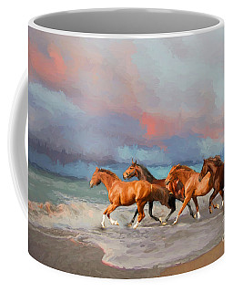 Horses At The Beach Coffee Mug by Mim White